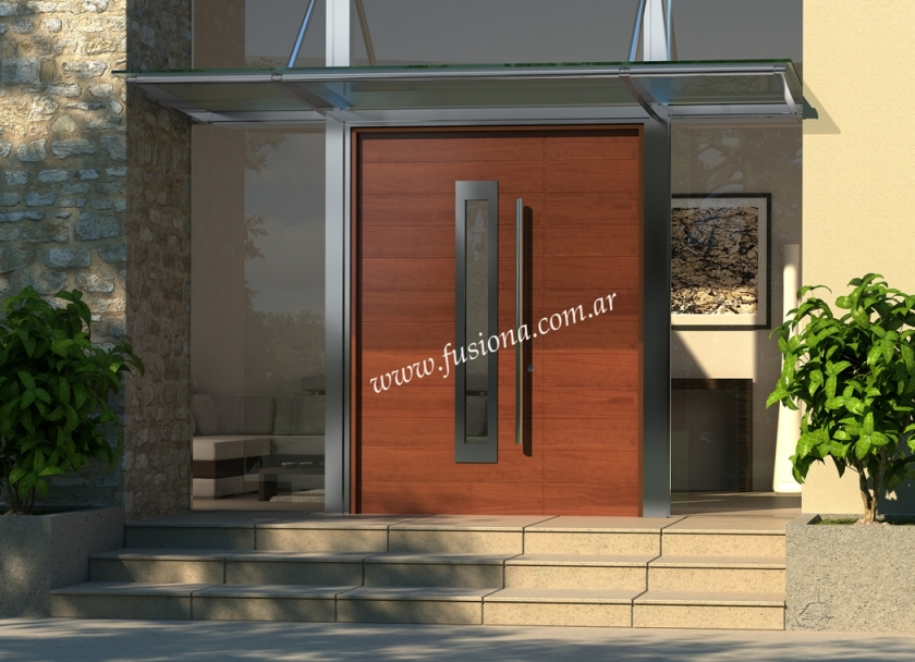 Puertas de entrada modernas de madera maciza modelos for Puerta y media de madera