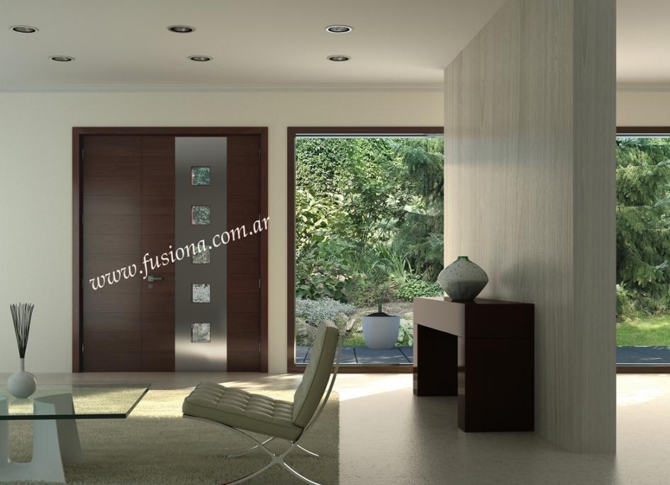 Puertas de entrada modernas de madera maciza modelos for Puertas principales para casas modernas