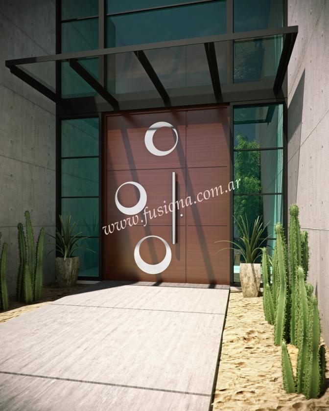 M117 puerta de madera con aplicaciones de acero inoxidable