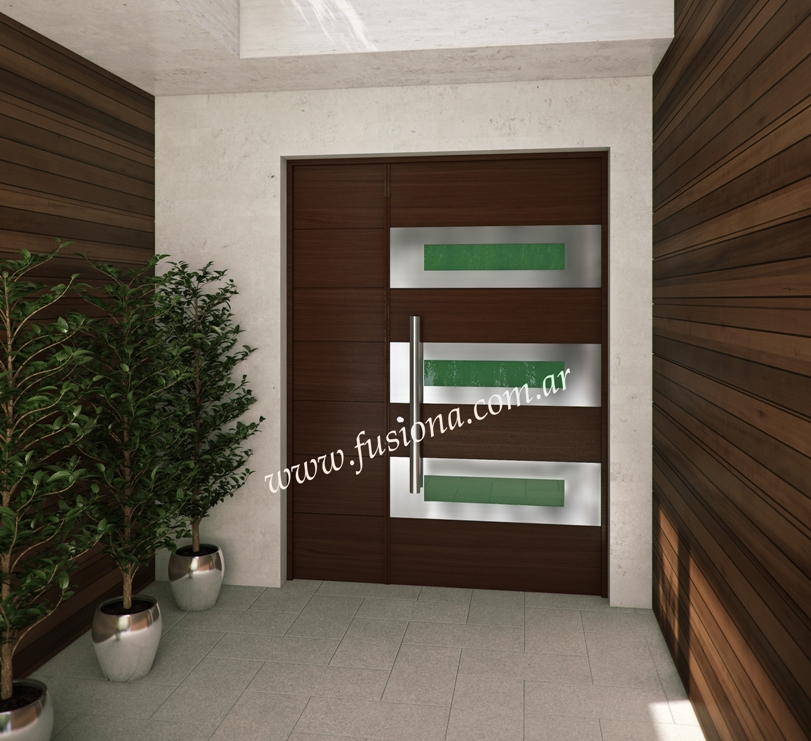 Mas modelos de puertas de entrada modernas de madera for Puertas de metal con vidrio modernas